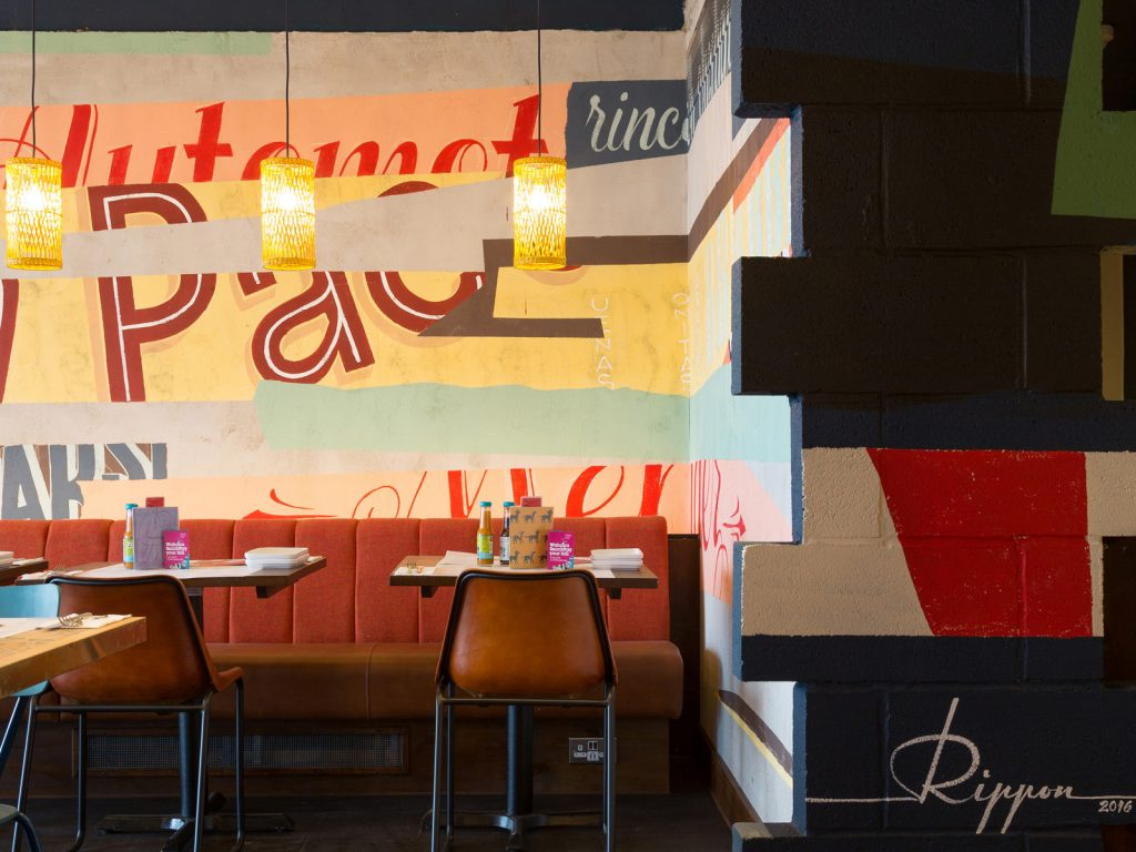 Interior design, Wahaca Edinburgh, mural art commission