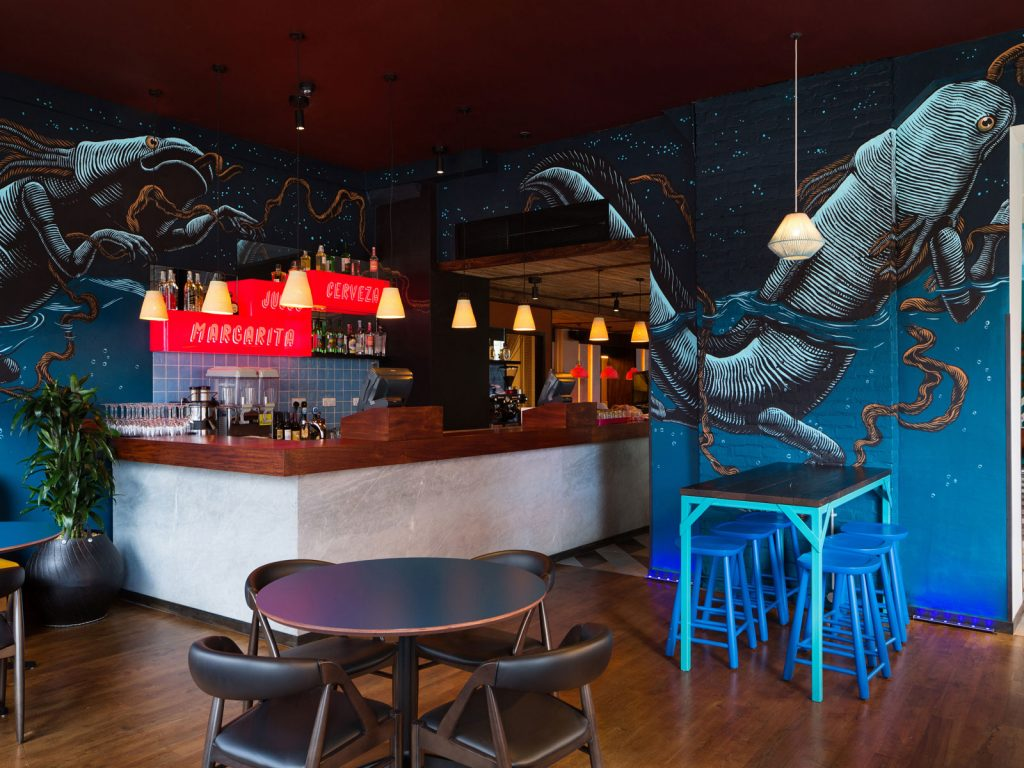 Interior design, Wahaca Brighton, mural art commission
