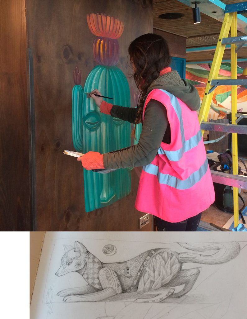 Sketch and process, Wahaca Southampton. Artist: Alegria Del Prado